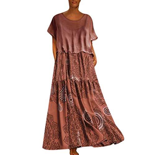COZOCO Mujer Vestido Cuello V Playa Dress Vestido Verano Mujer Punto Falda Larga Elegante Casual Dress