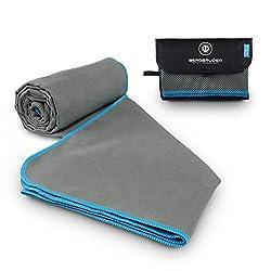 BERGBRUDER microfibre towels - ultralight, compact & quick-drying - microfibre towel, travel towel, sports towel (gray-red, S 80x40 cm)