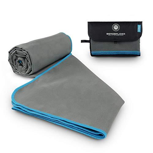 BERGBRUDER Microfaser Handtücher - Ultraleicht, kompakt & schnelltrocknend - Strandtuch, Badetuch Set mit Tasche (Set SL = 1x S 80x40 cm & 1x L 160x80 cm, Grau-Blau)