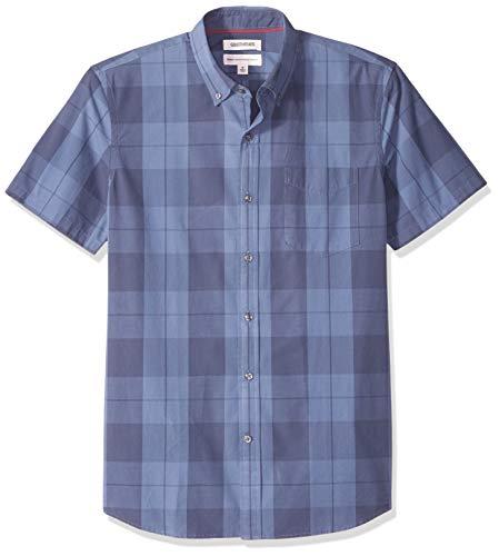 Amazon-Marke: Goodthreads Herrenhemd, Kurzarm, normale Passform, mit großen Karos, Blau (Indigo Large Plaid Lar), US XXL (EU XXXL-4XL)