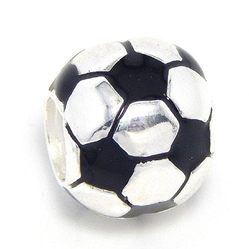 Pro Jewelry–Pendientes de plata de ley 925'balón de fútbol cuenta para pulsera para cadena de serpiente encanto pulseras