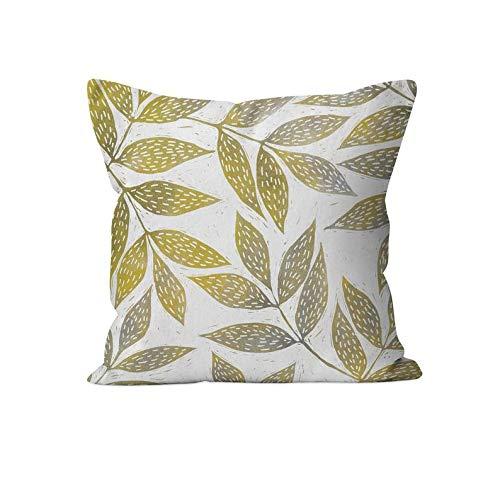 43LenaJon Fundas de almohada de lino y algodón, diseño de ramitas mostaza y gris, funda de cojín con estampado de hojas
