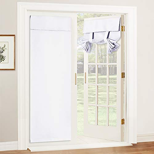 RYB HOME Curtain for French Door - Tool Free Self Adhesive Tricia Window Curtain Thermal Insulated Privacy Blinds for Sidelight Curtains Energy Efficient Room Darkening, W 26 x L 69, Pure White, 1 Pc