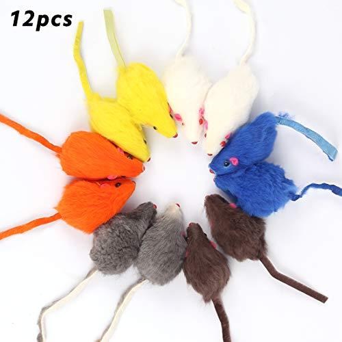 Bluelves Katzenspielzeug Maus, Spielzeugmäuse mit Glocke,12 Stück Maus Katzenminze, Spielzeug Katze Maus Toys, Fellmäuse klein plüschmaus, Interaktives Mouse Spielmaus für Katzen