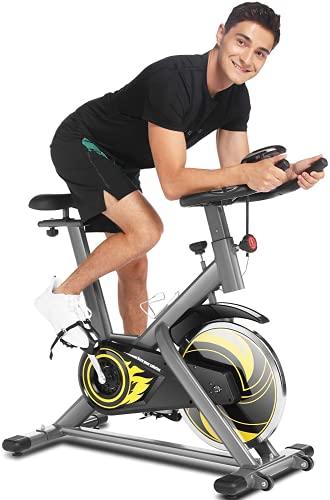 ANCHEER 18 kg Schwungrad Fitnessclub Heimtrainer Fahrrad mit App-Verbindung, Indoor Cycling Bike mit einstellbarem Widerstand, Herzfrequenzsensoren und Getränkehalter
