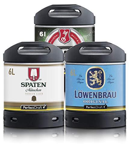 Bier PerfectDraft 3 x 6-Liter Fässer Bier. Zapfanlage für Zuhause. Inklusive 15euros Pfand. (Spaten - Löwenbräu - Beck´s)