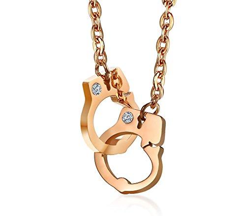 VNOX Edelstahl Delicate Crystal SM Handschellen Love Charm Anhänger Halskette für Frauen Mädchen, Rose Gold