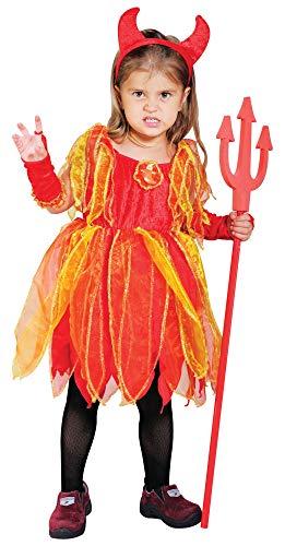 Foxxeo rotes Teufel Kostüm mit Teufelshörnern für Mädchen Kostüme rot Halloween Teufelin Kleid Kinder Fasching Karneval Größe 134-140