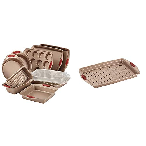 Rachael Ray Cucina Nonstick Bakeware Set with Baking Pans, Baking Sheets - 10 Piece & Cucina Nonstick Bakeware Set with Grips, Nonstick Cookie Sheet/Baking Sheet with Crisper Pan - 2 Piece