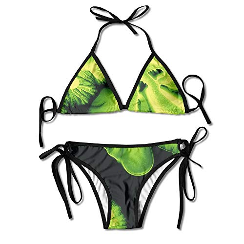 Women's Colorful Adjustable Coral Green Ink Art Macro Sexy Bikini Set 2 Piece
