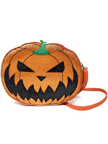 Comeco Halloween-Kürbis-Jack-O-Laterne mit Glitzerüberzug (doppelseitig, Jack O-Laterne)