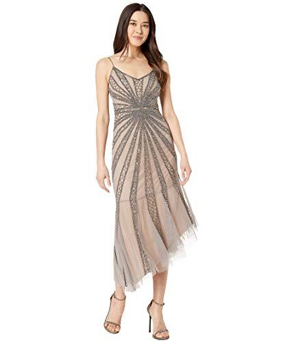 Adrianna Papell Petite Beaded Mesh Midi Cocktail Dress Mercury/Nude 10P