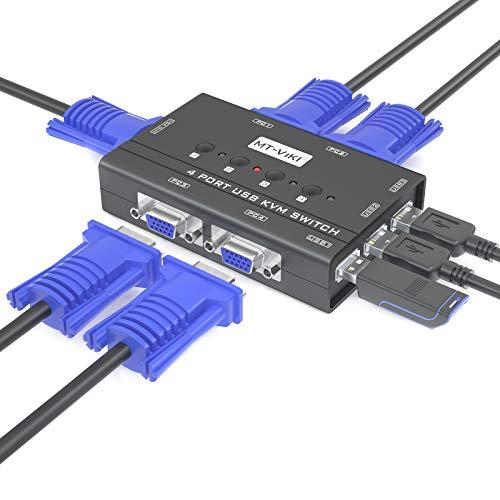 MT-Viki 4 Port VGA KVM Switch mit 3 USB Hubs, Multiple Switching Modes 4 Computern Teilen 1 Satz Monitor + Tastatur + Maus + Drucker/U-Disk mit KVM Kabeln