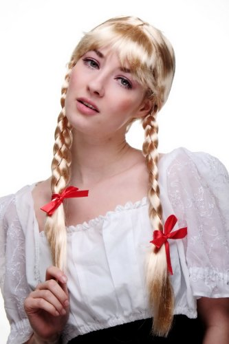 WIG ME UP ® - LM3050-P02 Perücke, blond, Frau Antje aus Holland, ALM-Mädchen