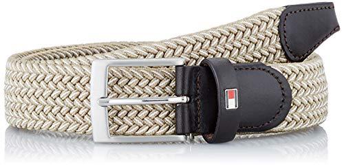 Tommy Hilfiger ADAN Two Tone Belt 3.5 Cinturón, Pumice Oscuro-Marfil, 90 cm para Hombre