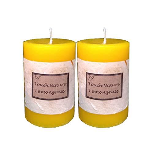 Touch Nature limoncillo Esenciales de aromaterapia Aceite perfumado fragante Amarillo Hecho a Mano de la Vela. vertido Mano Velas del Pilar decoración rústica. (5x7 cm, Juego de 2)