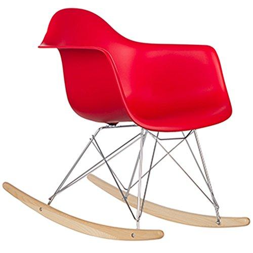 Cadeira Eames Dkr Eiffel Wood Com Balanço Pm084 Pelegrin - Vermelho