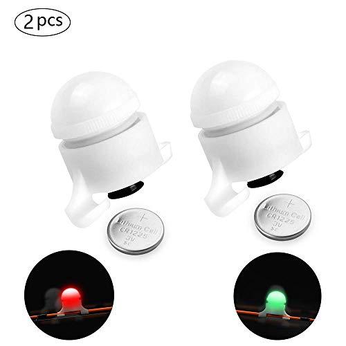 Mein HERZ 2 Pcs Campana de Alarma LED para Pesca, Alarma de Mordedura de Pesca Nocturna Luces Inteligente Clip en Cana de Pesca Alerta Resistente al Agua Pesca Accesorios