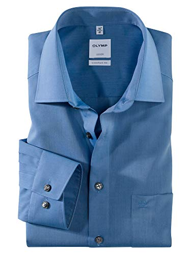 OLYMP Herren Oberhemd Langarm Luxor,Uni,Comfort fit,New Kent,Blau 15,44