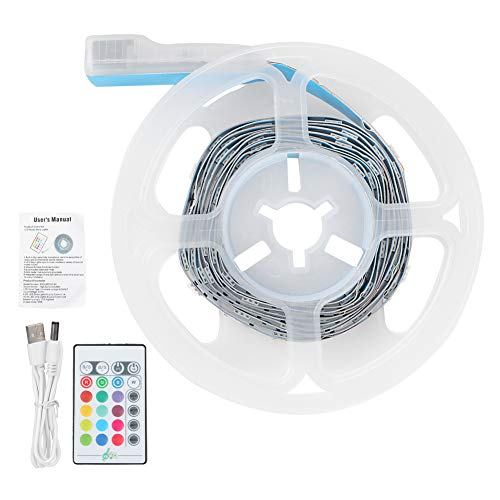ohcoolstule 2M USB Music LED Strips Lights 5050 RGB Light Strip Color Changing with Remote Control TV Backlight
