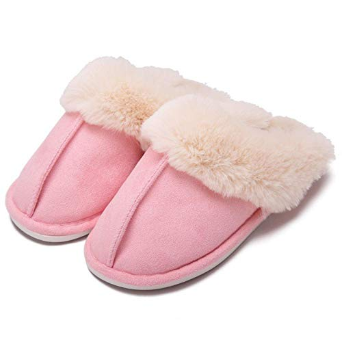ypyrhh Alta Densidad Espuma de Memoria Zapatos,Couple Plush Shoes, Indoor Cotton Slippers-Pink_40/41