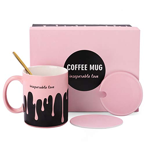 Inseparable Love - Glotoch Insulated Coffee Mug Set, Christmas Gift Box for Women ,Wife, Girlfriend, 11oz Sweet Coffee Mug with Beautiful Package for Valentine's Day, Birthday, Christmas Gift