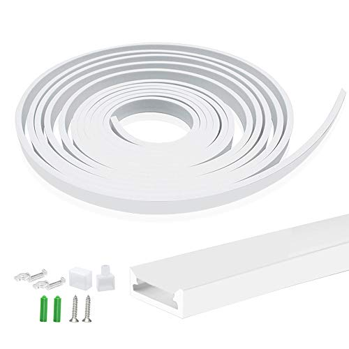 Newest 16.4FT/5M Silicone LED Channel System, U Shape 5x13mm DIY LED Neon Rope Light Fully Enclosed IP67 Waterproof Tube for 10mm LED Strip Lights Installation, for Indoor Outdoor Ambient Decor