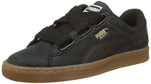 Puma Basket Heart Perf Gum, Zapatillas para Mujer, Negro Black-Gold, 39 EU