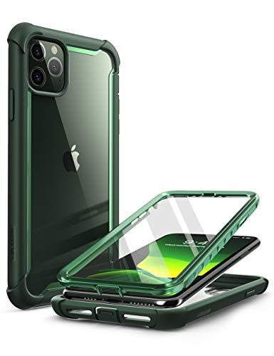 i-Blason Ares Case for iPhone 11 Pro Max 2019 Release, Dual Layer Rugged Clear Bumper Case with Built-in Screen Protector (Green)