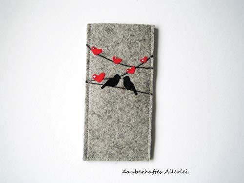 Pillenetui/Antibabypille/Case für Tabletten aus Wollfilz/Flockfolie/Motiv verliebte Vögel