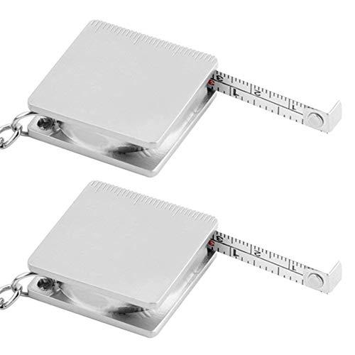 Lezed 2 Stück Maßband Schlüsselbund Praktische Kreative PersönlichkeitSchlüsselanhänger Ring Autoschlüssel-Ring Schlüsselanhänger Metall Maßband Keychain für Männer und Frauen Taschenanhänger