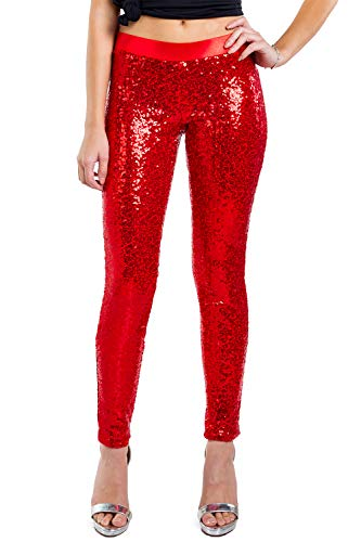 Women's Shiny Holiday Sequin Leggings (Red, Medium)