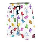 Hombres Personalizado Trajes de Baño,Ositos de Goma de Colores Vibrantes Caramelos Deliciosos bocadillos de gelatina azucarada Masticable Sabor Dulce,Casual Ropa de Playa Pantalones Cortos