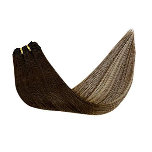 LaaVoo 20 Zoll Brazilian Human Haar Voller Kopf Weft Balayage Dunkeleres Braun zu Mittel Braun mit Hellblond #3/6/24 Salonqualität 100g