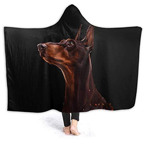 Leisure-Time Warme Hoodie Decke Hunde Kopf Dobermann Pinscher Kapuze Throw Wrap Cape Umhang Bademantel Damen Durable Couch Bett Schal