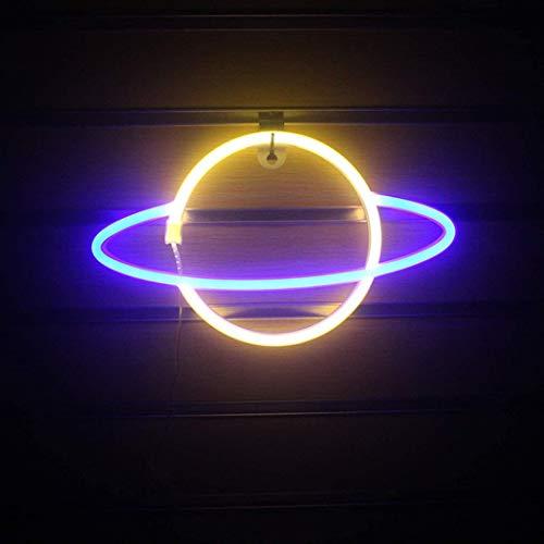Planet Neon Lights LED Modeling Lights, Romantic Decoration Planet Lights Modeling Lights LED Wall-Mounted Neon Lights,A