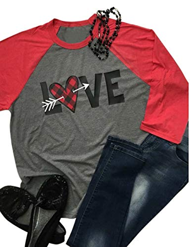 Women Love Heart Arrow Print Baseball Tees Buffalo Plaid Valentines Day Shirt 3/4 Sleeve Raglan Top...