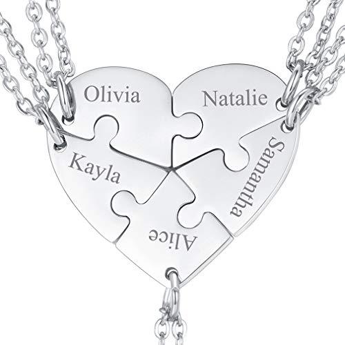 FaithHeart Cinco Piezas Set Collares Puzzle Corazones Románticos de Amor y Amistad Acero Inoxidable Plateado Joyería De Moda