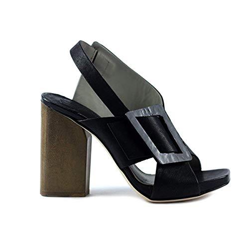 IXOS Sandale Glattleder Schwarz Damen Art 35105 Made in Italy (Absatzhöhe; cm 9, Plateau: cm 1) (40 EU)