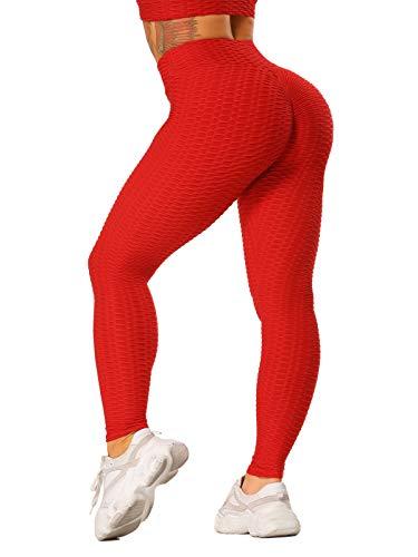 FITTOO Damen Scrunch Butt Leggings Honeycomb Yogahose Booty Lifting Fitness Hose Push-Up Sporthose Stretch Workout Fitness Jogginghose Design 2 - Rot M