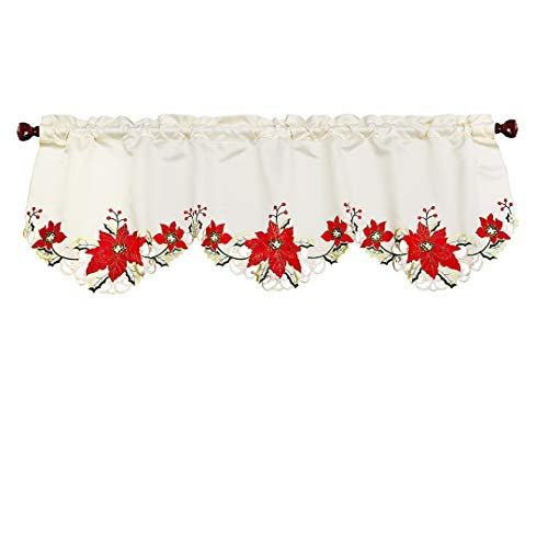 Grelucgo Christmas Holiday Embroidered Poinsettia Window Curtains Valance Winter Decorations 60 by 18 Inch