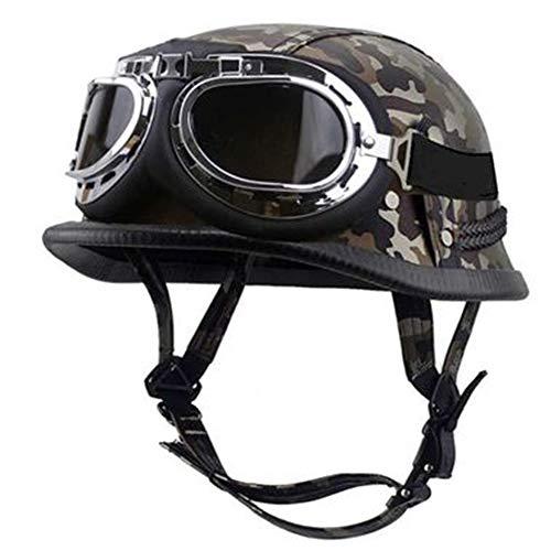 ZLYJ Camuflaje Casco Moto, Retro Cascos Motocicleta Media Abierto Helmet con Gafas de Piloto, Casco Abierto Protección para Scooter Bicicleta para Hombre Mujer, Homologado ECE