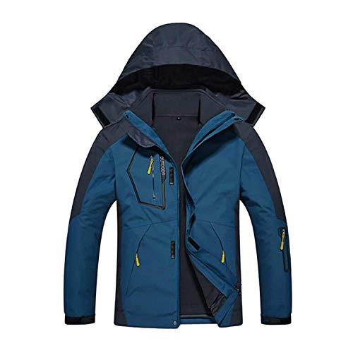 Doubjoy 3-in-1-wasserdichte Herren-Skijacke mit Fleece-Innenfutter Warme Winterjacke Mantel Bergwasserdichte Skijacke Winddichte Regenjacke (A-Denim Blue,4XL)