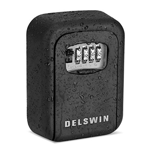 Key Lock Box - Waterproof Combination Lockbox Wall Mounted Key Storage Lock Box for Office,Realtors,House Spare Keys,Holds Up to 6 Keys (Black)