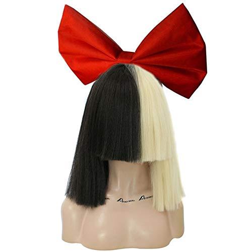 Bowknot rojo + gorra para el cabello + flequillo plano medio rubio y negro Sia peluca cospaly sintética recta estilo Yaki para fiesta 12 pulgadas rubia