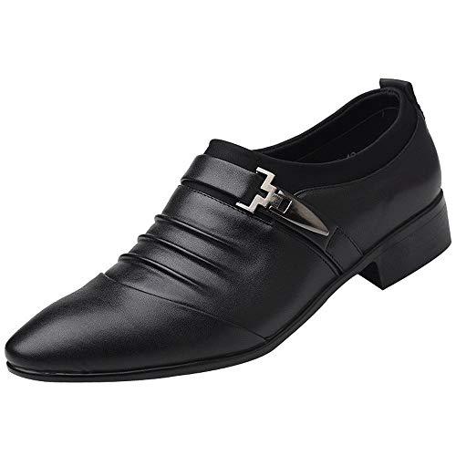 Zapatos de Vestir de Negocios para Hombres Zapatillas de Piel Casual con Estilo Suave Fiesta Moda Cuero Negro Blanco riou