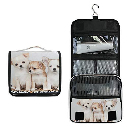 Bolsa de aseo colgante con diseño de perro chihuahua, para mujer, niña, multifunción, bolsa de...