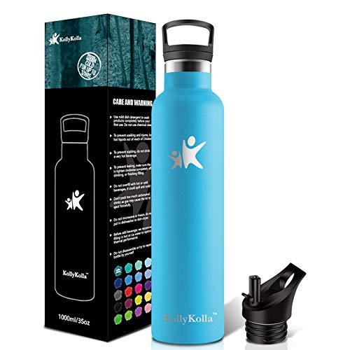 KollyKolla Botella de Agua Acero Inoxidable 1L, Termo Sin BPA Ecológica Frascos Térmicos Reutilizable, Botella Termica con Pajita y Filtro, Water Bottle Deporte, Gym, Yoga, Cámping, Azul