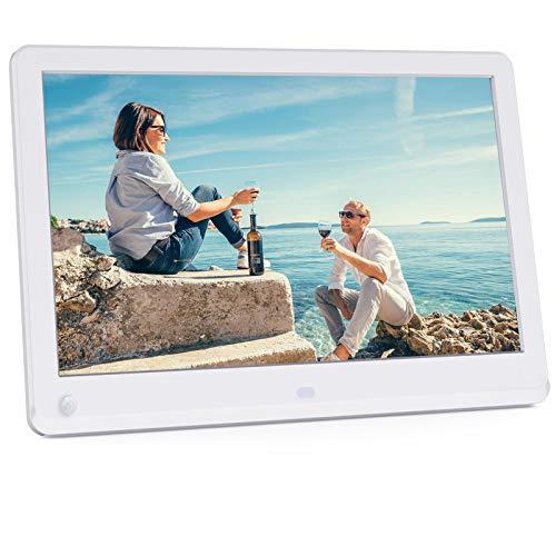 Digitaler Bilderrahmen 10 Zoll 1920 * 1080 Hochauflösend IPS Display 16:9 Bildschirm Video Musik Player mit Kalender/Wecker,mit Fernbedienung,Weiß