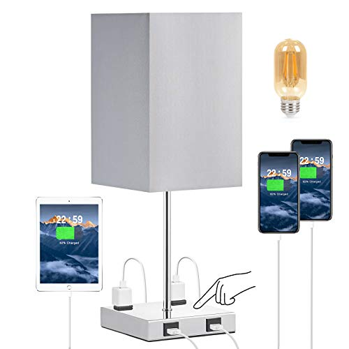 Touch Control USB Table Lamp, Aooshine 3-Way Touch Control Bedside Lamp with Dual 5V 2A Charging Ports & 2-Prong AC Outlets, Minimalist Decor for Living Room Bedroom Office, 4W 2700K LED Bulb Included